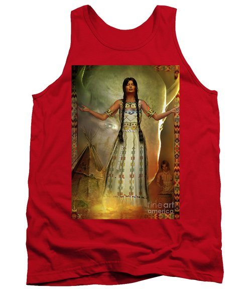 Tank Top featuring the digital art White Buffalo Calf Woman by Shadowlea Is