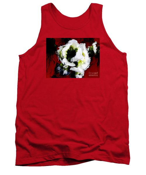 White Flower On Red Background Tank Top by Craig Walters