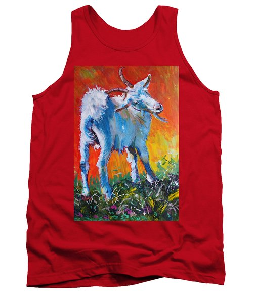 White Goat Painting - Scratching My Back Tank Top