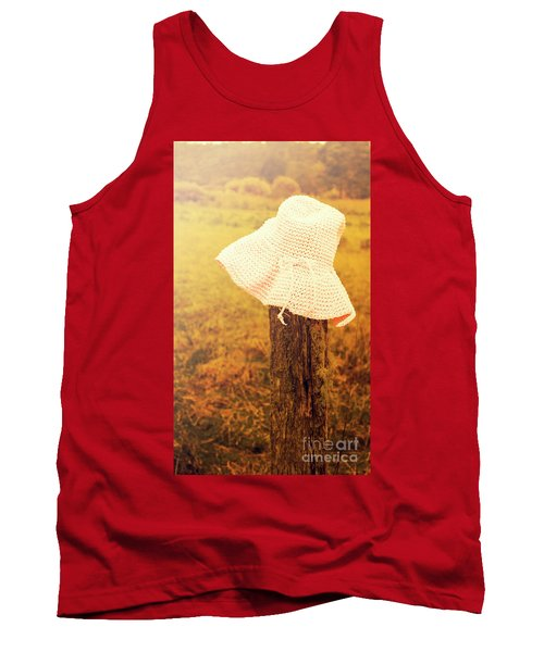 White Knitted Hat On Farm Fence Tank Top