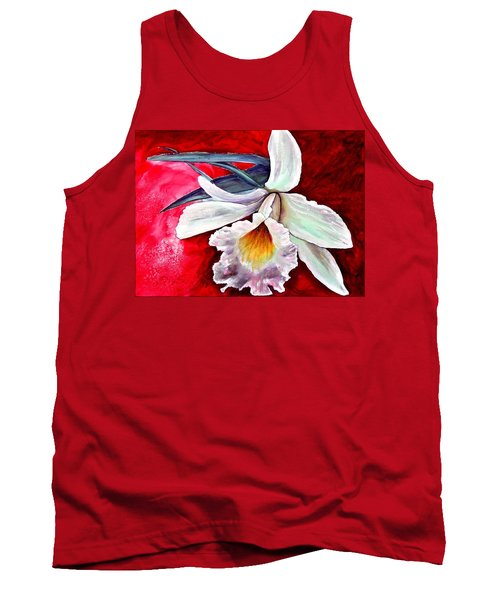 Tank Top featuring the painting White Orchid by Ryn Shell