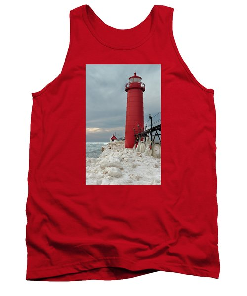 Winter At Grand Haven Lighthouse Tank Top