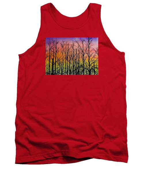 Winter Trees At Sunset Tank Top by Ellen Canfield