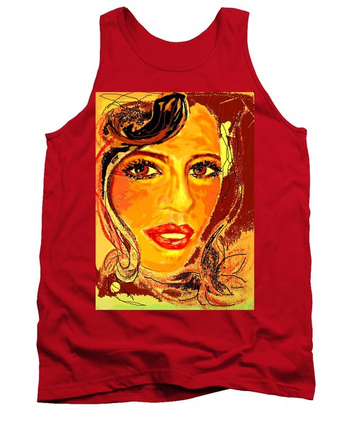 Tank Top featuring the digital art Woman by Desline Vitto