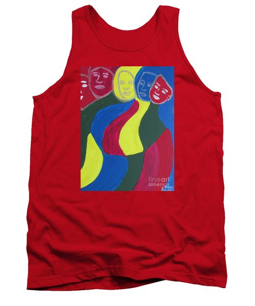 Tank Top featuring the painting Women - Who Are All Sisters by Mudiama Kammoh