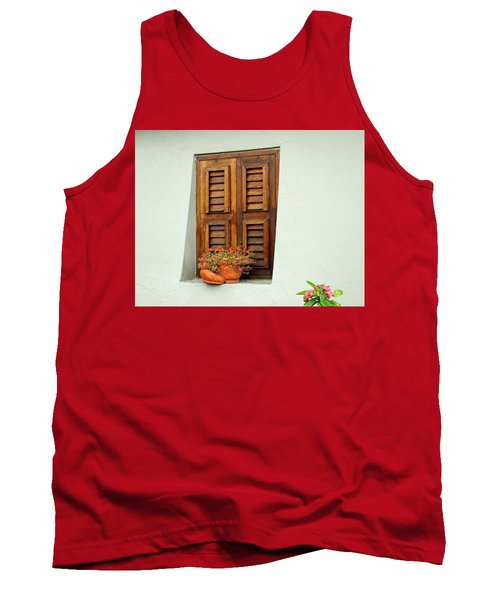 Tank Top featuring the photograph Wood Shuttered Window, Island Of Curacao by Kurt Van Wagner