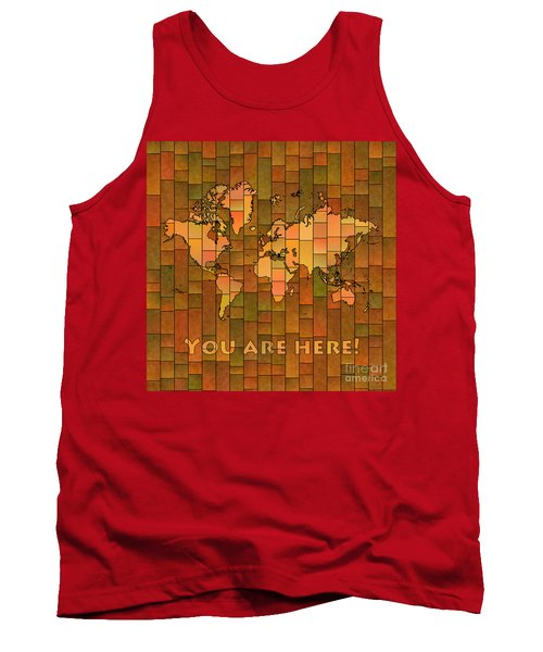 World Map Glasa You Are Here Brown Orange Green Tank Top by Eleven Corners