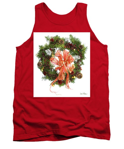 Tank Top featuring the digital art Wreath With Bow by Lise Winne