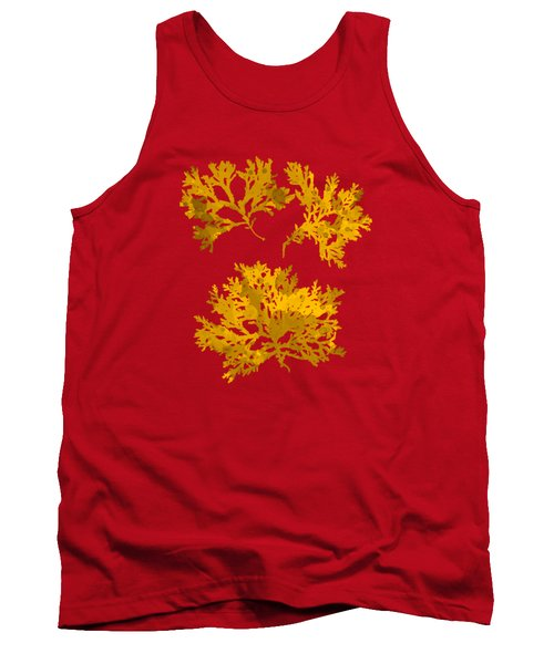 Tank Top featuring the mixed media Yellow Gold Seaweed Art Delesseria Alata by Christina Rollo