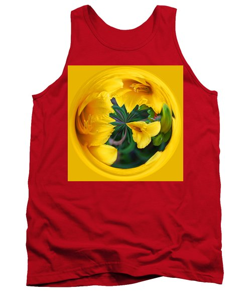 Yellow Lily Orb Tank Top by Bill Barber