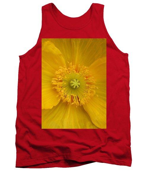 Yellow Poppy Flower Center Tank Top