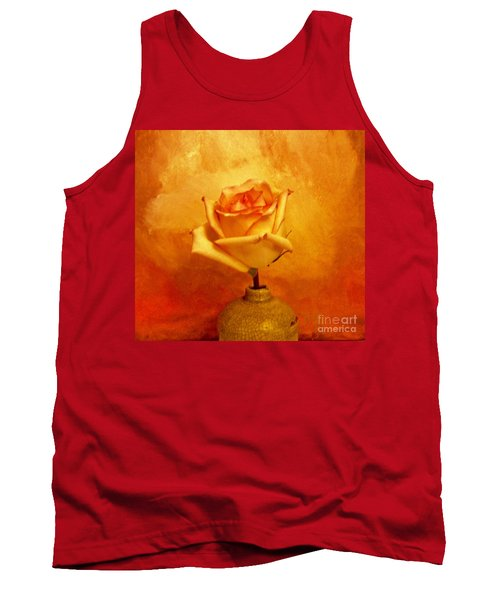 Tank Top featuring the photograph Yellow Red Orange Tipped Rose by Marsha Heiken