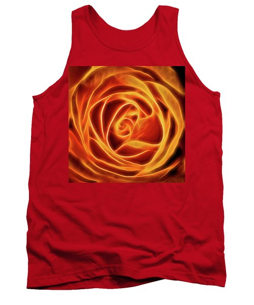 Tank Top featuring the photograph Yellow Rose Glow Square by Terry DeLuco