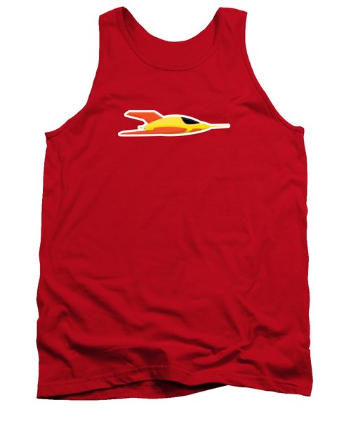 Yellow Space Rocket Tank Top by Nathan Poland