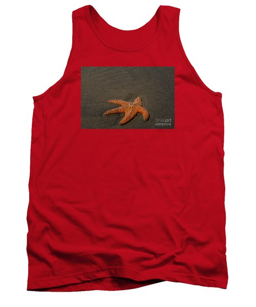 Orange Starfish On Oregon Beach Tank Top by Chuck Flewelling
