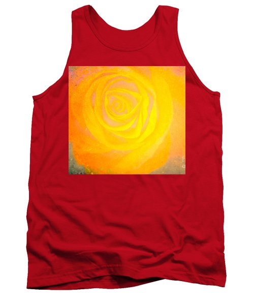 Tank Top featuring the mixed media Yelloworange Rose by Kim Henderson