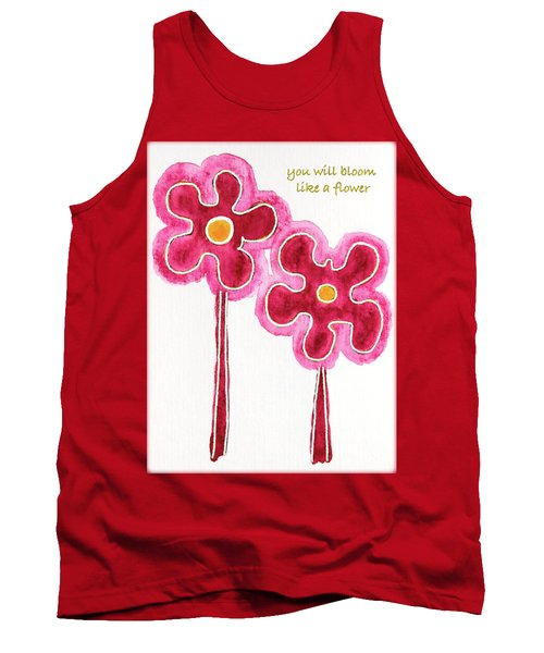 Tank Top featuring the drawing You Will Bloom Like A Flower by Frank Tschakert