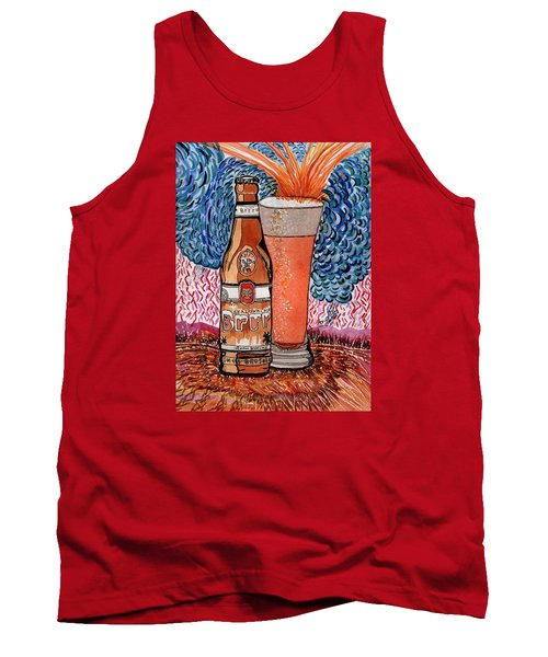Tank Top featuring the painting Yum Burr Hyf. Beer by Connie Valasco