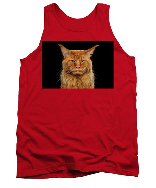 Angry Ginger Maine Coon Cat Gazing On Black Background Tank Top