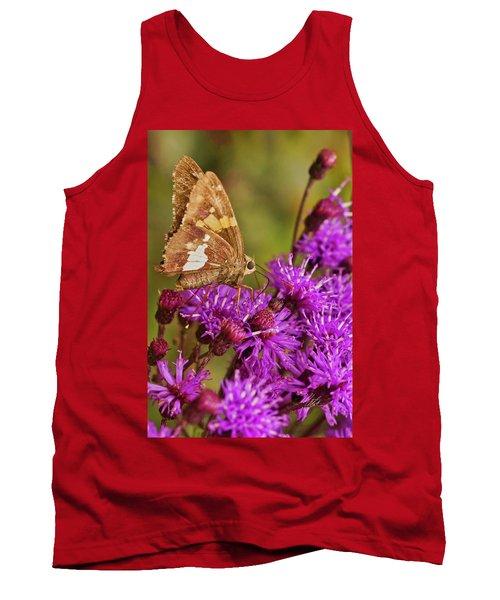Moth On Purple Flowers Tank Top