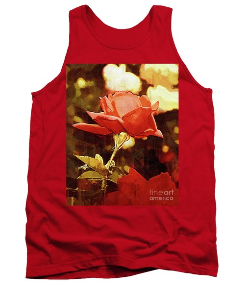 Single Rose Bloom In Gothic Tank Top
