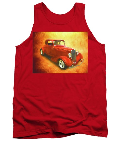 1934 Ford On Fire Tank Top