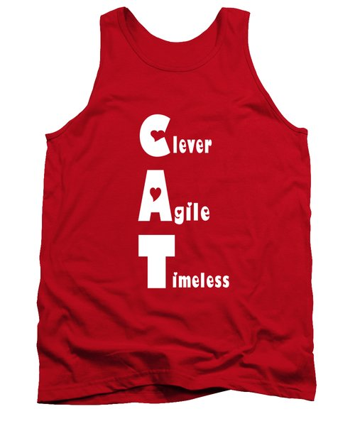 Cat With White Words Tank Top