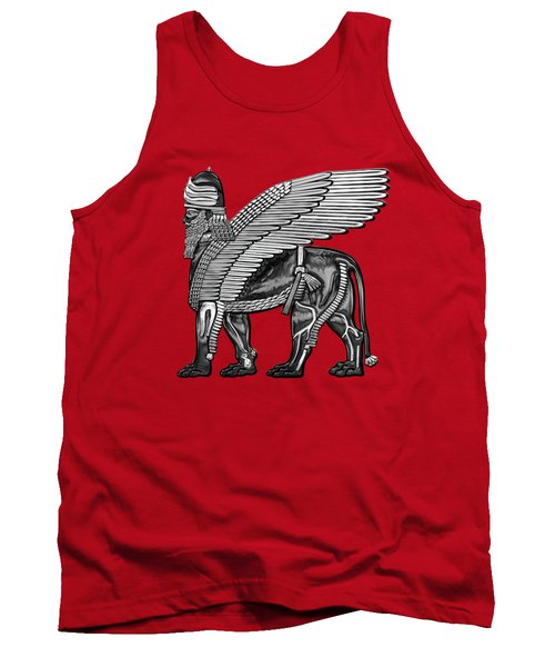 Assyrian Winged Lion - Silver And Black Lamassu Over Red Leather Tank Top