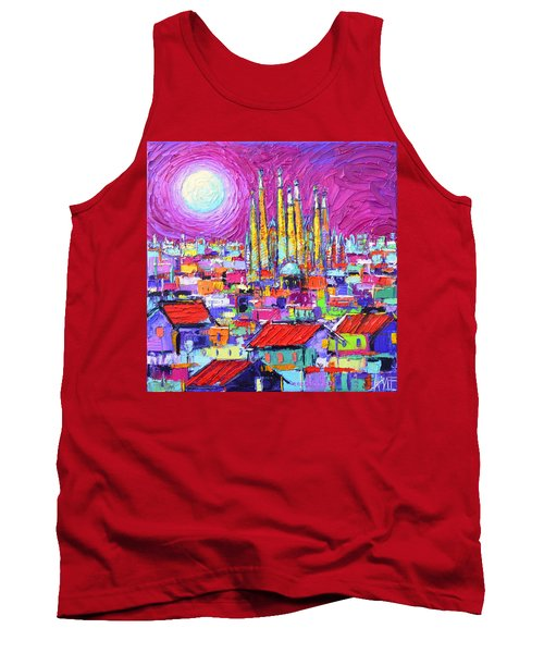 Barcelona Mystic Full Moon Over Sagrada Familia Abstract Cityscape Knife Painting Ana Maria Edulescu Tank Top