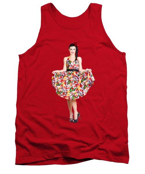 Beautiful Dancing Woman In Retro Red Dress Tank Top