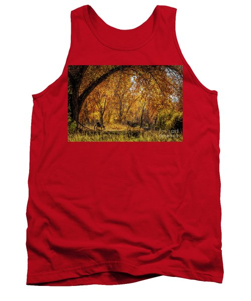 Bench With Autumn Leaves  Tank Top