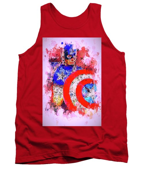Tank Top featuring the mixed media Captain America Watercolor by Al Matra