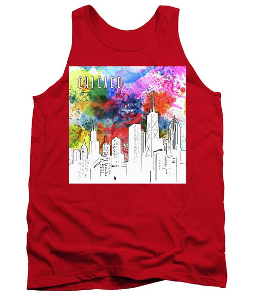 Chicago Skyline Panorama Watercolor Tank Top