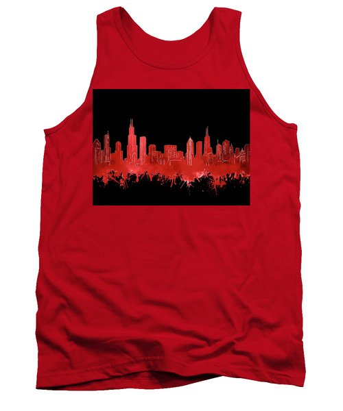 Chicago Skyline Watercolor 5 Tank Top