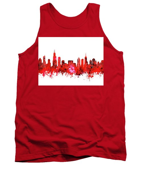 Chicago Skyline Watercolor Red Tank Top