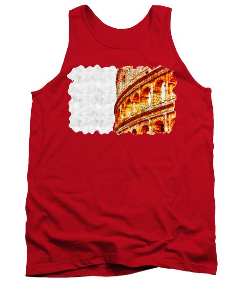 Cityscape Watercolor Drawing - Amphitheater Ancient Tank Top