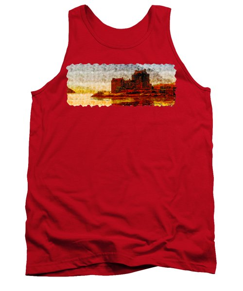 Countryside Watercolor Drawing  -  Castle Of The Lake Tank Top