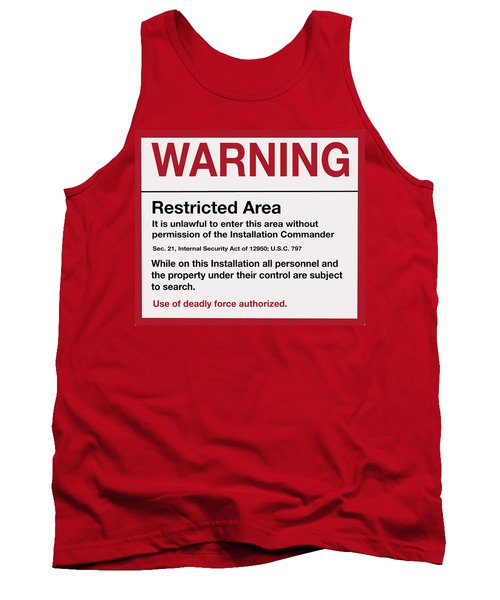 Deadly Force Warning Sign Tank Top