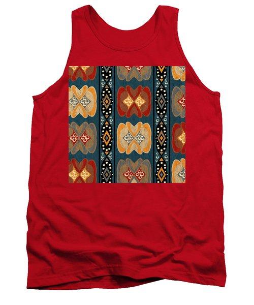 East African Heart And Diamond Stripe Pattern Tank Top