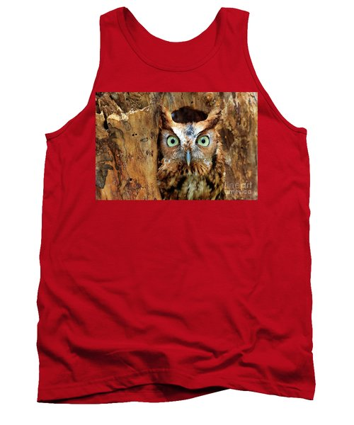 Eastern Screech Owl Perched In A Hole In A Tree Tank Top