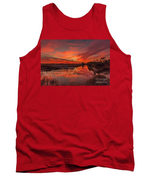 Explosive Sunset At Pine Glades Tank Top