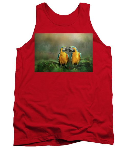 Gold And Blue Macaw Pair Tank Top