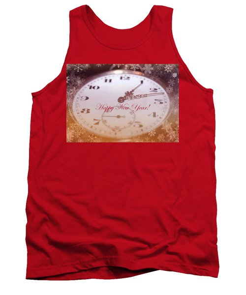 Happy New Year With Decorative And Nostalgic Theme. Tank Top