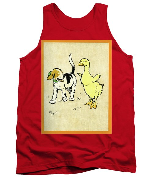 Illustration Of Puppy And Gosling Tank Top