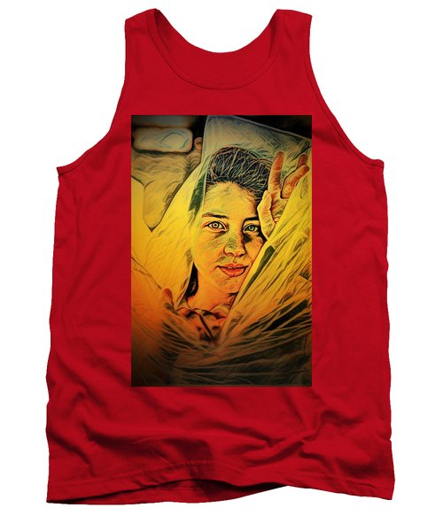 Lady Wrapped In Strings Tank Top