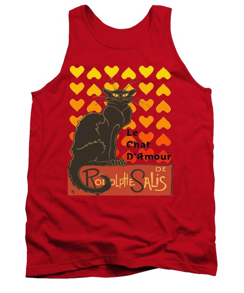 Le Chat D Amour Valentine Cat With Lovehearts Tank Top