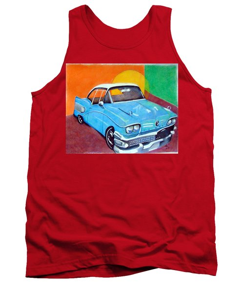 Tank Top featuring the drawing Light Blue 1950s Car  by Loretta Nash