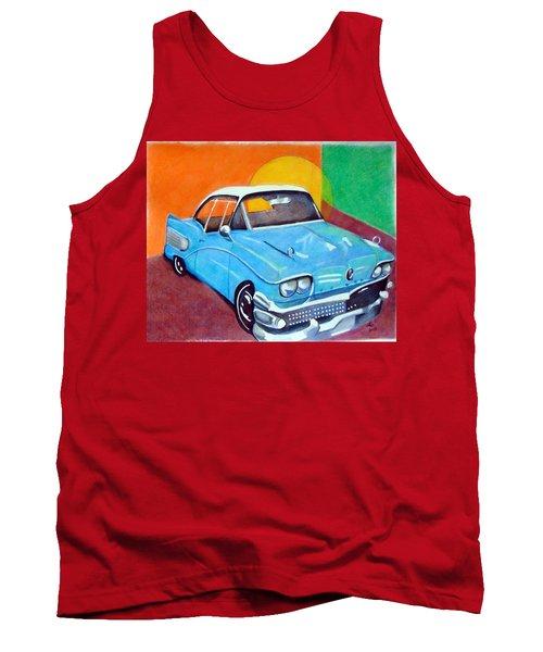 Light Blue 1950s Car  Tank Top