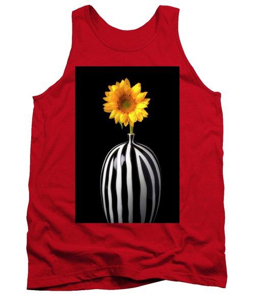 Lovely Sunflower In Striped Vase Tank Top