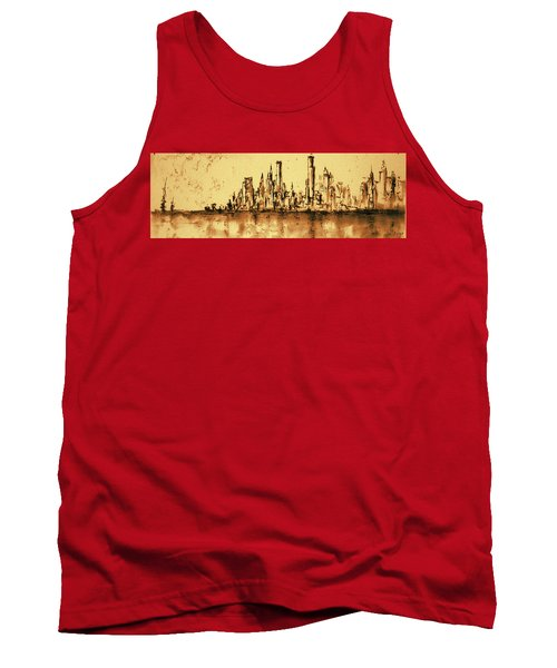 New York City Skyline 79 - Water Color Drawing Tank Top